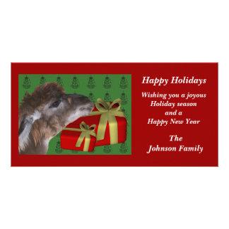 Brown Llama Farm Animal Christmas Holiday Card Picture Card