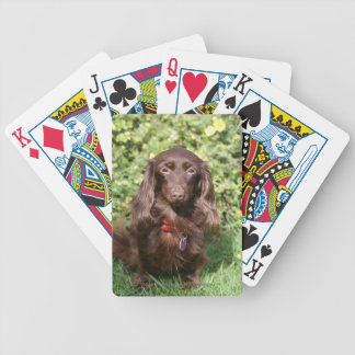 Brown Long-haired Miniature Dachshund Bicycle Playing Cards