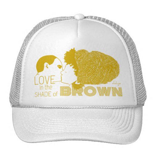 BROWN LOVE in GOLD Mesh Hat