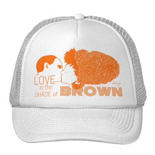 BROWN LOVE in ORANGE Mesh Hats