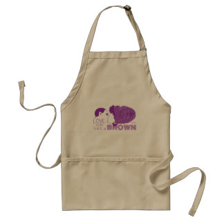 BROWN LOVE in PURPLE Standard Apron