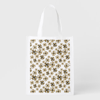 Brown Lucky Shamrock Clover Reusable Grocery Bag
