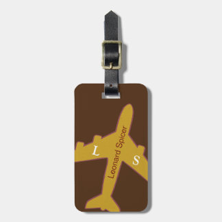 brown luggage tag personalized with name