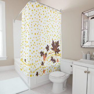Brown maple leaves and yellow polka dots fall shower curtain