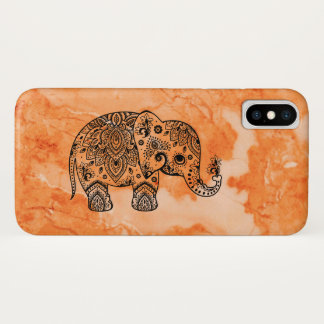 Brown Marble & Black Paisley Elephant iPhone X Case