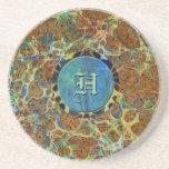 Brown Marble Custom Monogramed Coaster