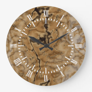 Brown Marble Texture Large Clock