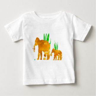 Brown Marching Elephants Baby T-Shirt