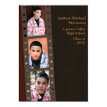 Brown, Maroon Colour Block Grad Photo Card Personalized Invitations