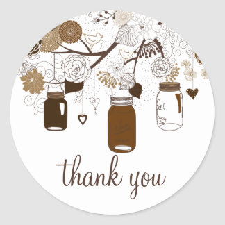 Brown Mason Jars & Flowers Fall Thank You Sticker