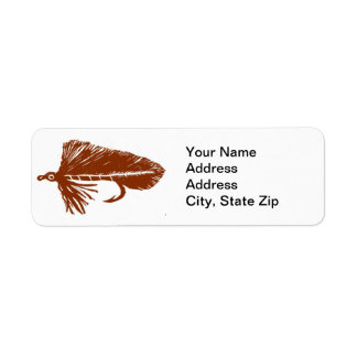 Brown Matuka Trout Fly Return Address Label