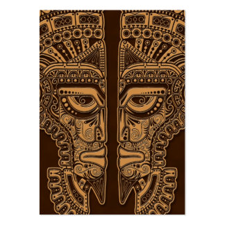 Brown Mayan Twins Mask Illusion Business Card