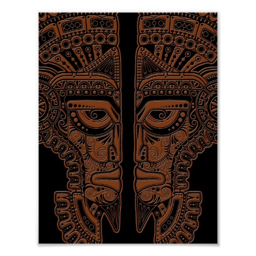 Brown Mayan Twins Mask Illusion on Black Poster