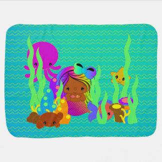 Brown Mermaid Under the Sea Baby Blanket