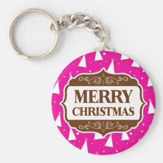 Brown Merry Christmas; Hot Pink & White Trees Key Chains