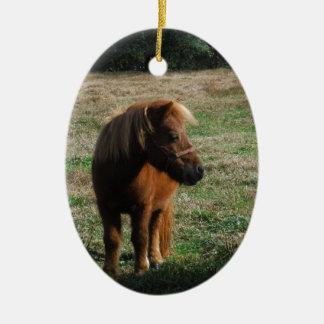 Brown Miniature Horses Christmas Ornament
