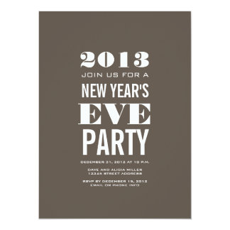Brown Modern 2013 New Year's Eve Party Invitation