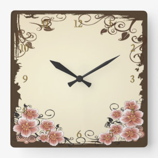 Brown Modern Flower Square Wall Clock