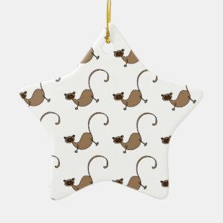 Brown monkey ceramic star decoration