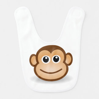 Brown Monkey Face Baby Bib