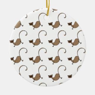 Brown monkey round ceramic decoration