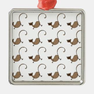 Brown monkey Silver-Colored square decoration