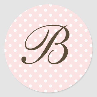 Brown Monogram B On Polka Dot Favor Labels Round Stickers
