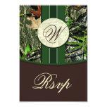Brown Monogram Hunting Camo Wedding RSVP Cards Custom Invite