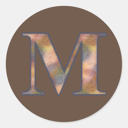Brown Monogram M Classic Round Sticker