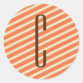 Brown Monogram on Retro Orange Diagonal Stripes Round Stickers