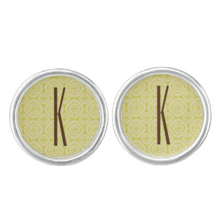Brown Monogram on Retro Sage Green Pattern Cuff Links