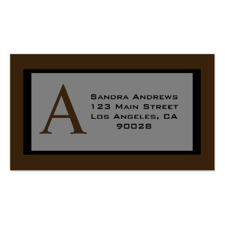 brown monogram pack of standard business cards