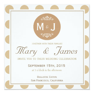 BROWN MONOGRAMMED MEDALLION 13 CM X 13 CM SQUARE INVITATION CARD
