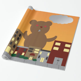 Brown Monster Bear City Urban Sunrise Sunset Wrapping Paper