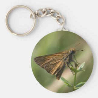 brown moth basic round button key ring
