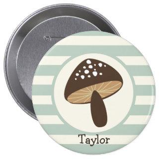 Brown Mushroom on Light Sage Green Stripes 10 Cm Round Badge