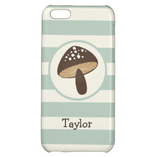 Brown Mushroom on Light Sage Green Stripes iPhone 5C Cases