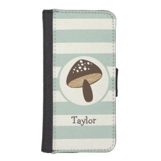 Brown Mushroom on Light Sage Green Stripes iPhone 5 Wallet