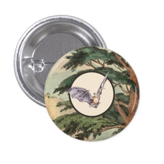 Brown Myotis Bat Natural Habitat Illustration 3 Cm Round Badge