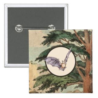 Brown Myotis Bat Natural Habitat Illustration 15 Cm Square Badge