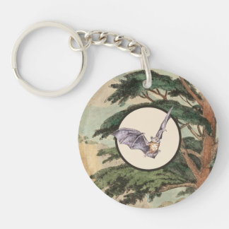 Brown Myotis Bat Natural Habitat Illustration Key Ring