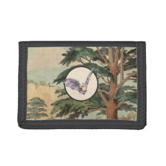 Brown Myotis Bat Natural Habitat Illustration Tri-fold Wallet