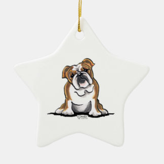 Brown n White English Bulldog Sit Pretty Christmas Ornament