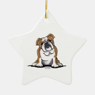 Brown n White English Bulldog Sit Pretty Christmas Ornament