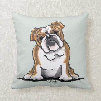 Brown n White English Bulldog Sit Pretty Cushion