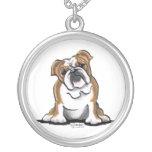 Brown n White English Bulldog Sit Pretty Custom Jewelry