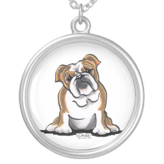 Brown n White English Bulldog Sit Pretty Silver Plated Necklace