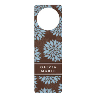 Brown Name Baby Blue Flower Blossom Pattern Door Hanger
