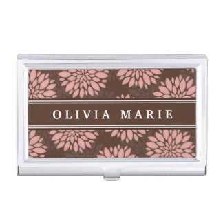 Brown Name Blush Pink Flower Blossom Pattern Business Card Holders