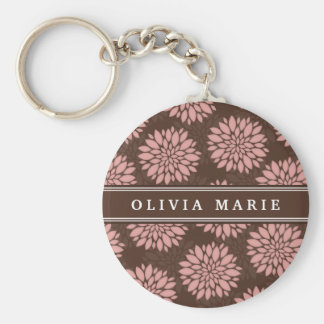 Brown Name Blush Pink Flower Blossom Pattern Key Chains